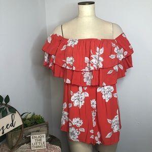 Fashion Nova Floral Off-shoulder Layered Romper M